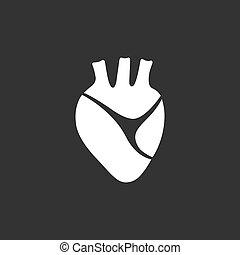 Human heart icon on a black background