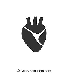 Human heart icon on a white background