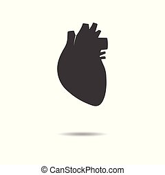 Human heart icon - simple flat design isolated on white background, vector