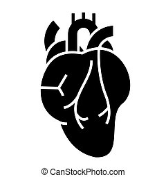 human heart icon, vector illustration, black sign on isolated background