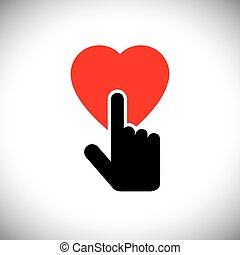 human heart icon with hand touch - concept vector graphic