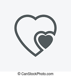 human heart icons ( signs ) or symbols for love - simple vector graphic. This illustration has the love icon on grey, green, orange and blue backgrounds & useful for websites, documents, printing