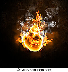 Human heart in fire flames
