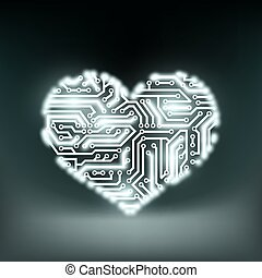 Human heart in the form of technology circuits. Stock Vector ill