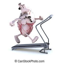 human heart on a running machine