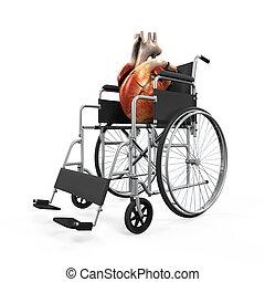 Heart health wheelchair  3d concept and presentation figure
