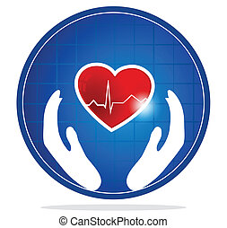 Cardiology and heart symbol. The heart shape symbolizes healthy heart beating and healthy blood circulation system. Hands symbolizes the healing and protection of human heart.