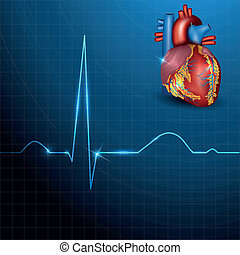 Human heart rhythm on beautiful blue background with light shades, normal electrocardiogram record. Bright and bold medical design.