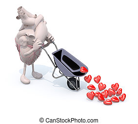 heart with arms and legs carries a wheelbarrow with hearts