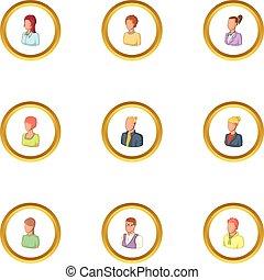 Human icons set, cartoon style