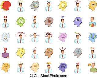 Human idea icon set, cartoon style