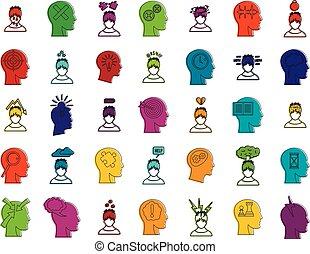 Human idea icon set, color outline style