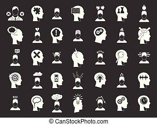 Human idea icon set grey vector