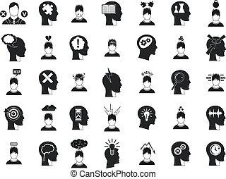 Human idea icon set, simple style