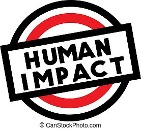 HUMAN IMPACT stamp on white isolated