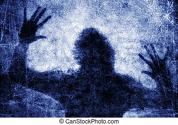 Human in danger - Crime background - dark silhouette of...
