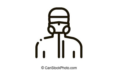 Human in Protective Mask Icon Animation. black Human in Protective Mask animated icon on white background