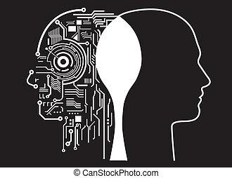 human, inteligência, fusão