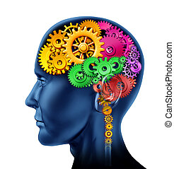 Brain sections made of cogs and gears representing intelligence and divisions of mental neurological activity isolated on white.