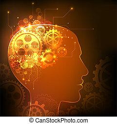 Human Intelligence - illustration of cog wheels in human...