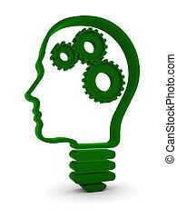 Human Intelligence - Human head / light bulb with mechanical...