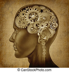 Human intelligence with grunge texture made of cogs and...
