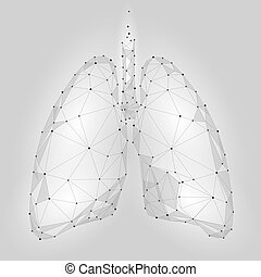 Human Internal Organ Lungs. Low Poly technology design. Red...