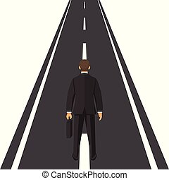 Human is standing on road vector concept. Way forward. Business metaphor. Vector illustration in flat style.