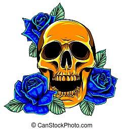 human, isolado, cranio, rosas, white., tatuagem, desenhado, ...