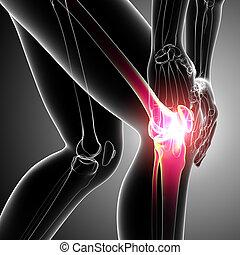 Human knee pain on gray