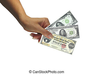 Human lady hand giving cash rare dollars currency isolated...