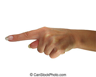 Human lady hand showing direction isolated over white background
