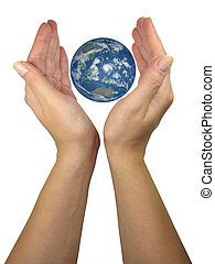 Human lady hands protecting earth globe isolated over white