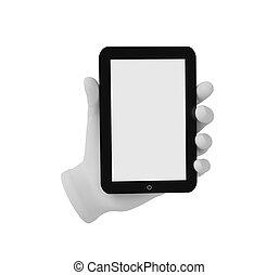 human, laptop, mão, experiência., segurando, branca, 3d