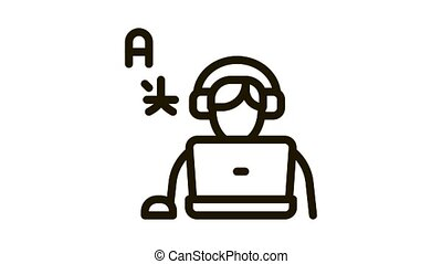 Human Learn Foreign Language Icon Animation. black Man With Laptop And Earphones Listen International Language animated icon on white background