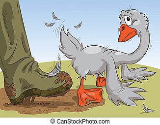 human leg pushes the goose in the ass - human foot in a...