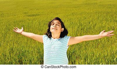 human, liberdade, felicidade, em, natureza, pronto, para, futuro