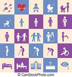 human life symbol - vector basic icon set for human life