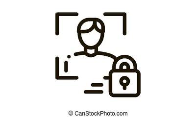 Human Lock Security Icon Animation. black Human Lock Security animated icon on white background