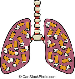 Human lung ashtray - Human lungs with cigarette butts vector...