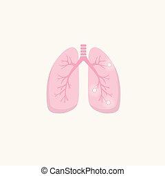 Human lung illness anatomy diagram. Lung cancer (asthma, tuberculosis, pneumonia). Respiratory system