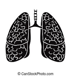 Human lungs icon in black style isolated on white background. Human organs symbol stock vector illustration.