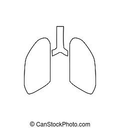 Human lungs icon, outline style