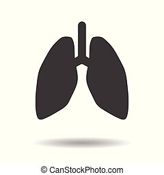 Human Lungs icon - simple flat design isolated on white background, vector