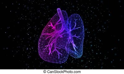 Human lungs of glowing blue light particles point of human lungs model. Looping motion animated neurons in 3d virtual space.