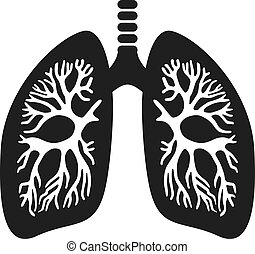 Human lungs black silhouette icon