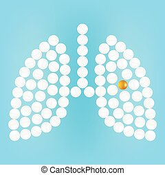 Human Lungs With Pills Isolated On A Background Realistic Vector Illustration.