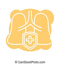 human lungs with shield block style icon vector illustration...