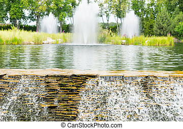 Human-made waterfall in a park