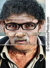 Human male face made of several different people, artistic concept collage